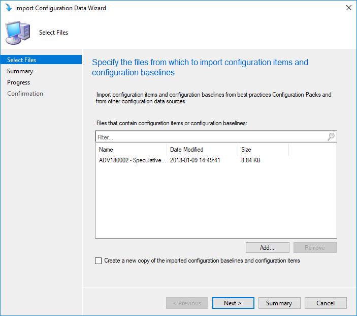 SCCM Spectre Meltdown Configuration Baseline