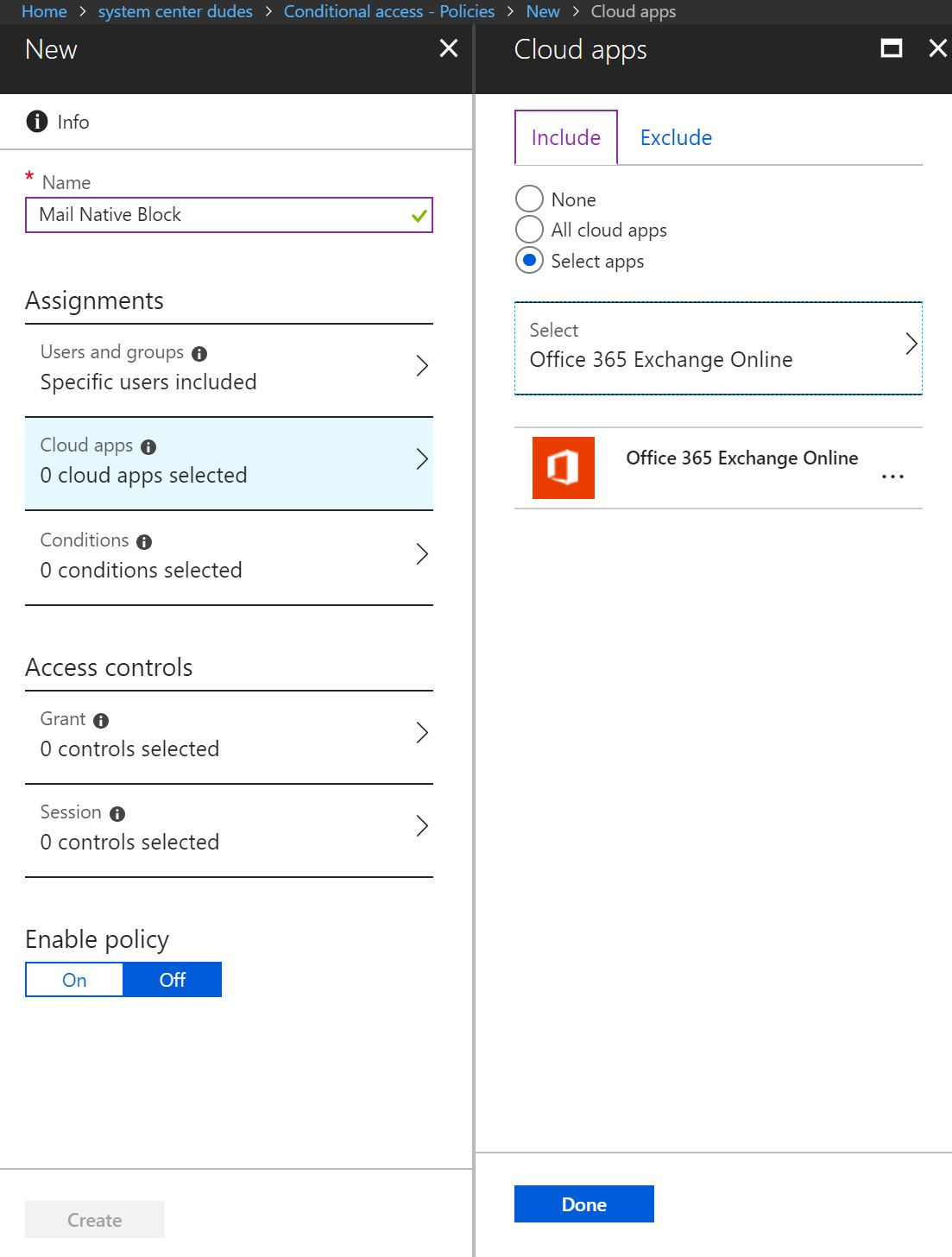Conditional access blocking Basic Authentication