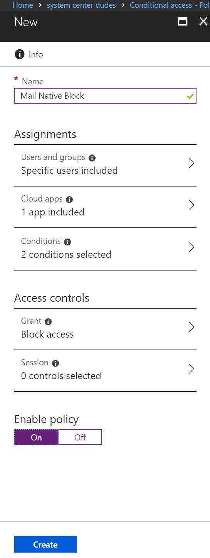 Conditional access blocking Exchange ActiveSync